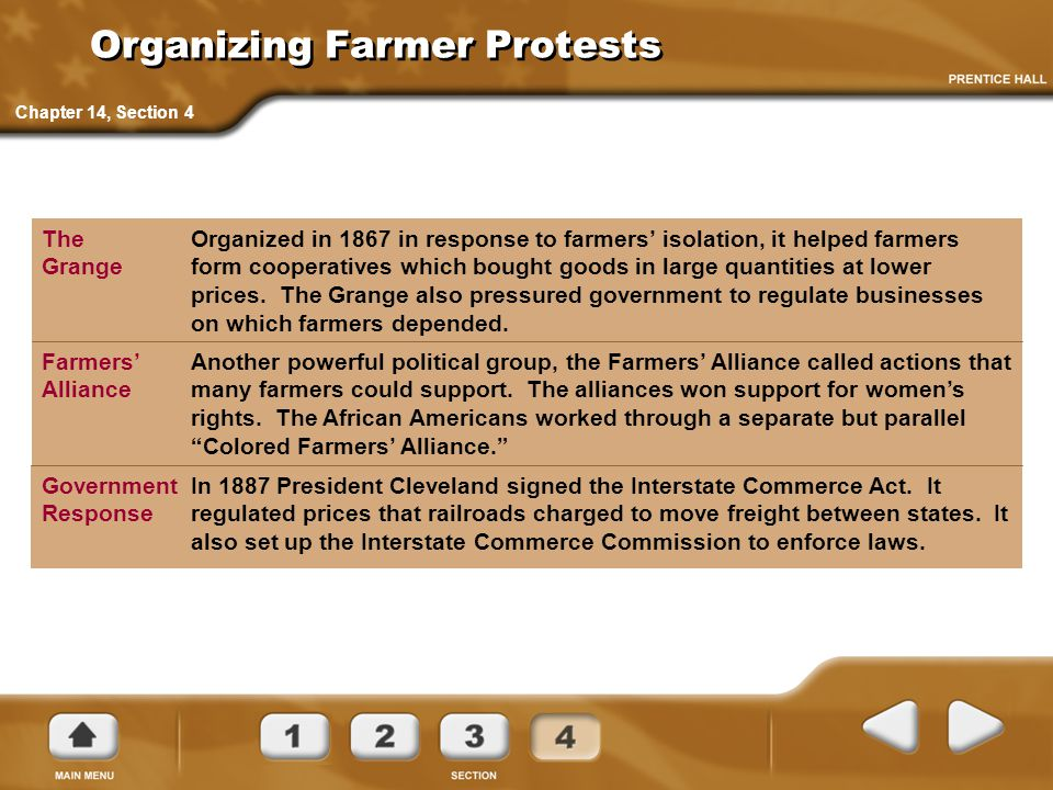 Organizing Farmer Protests Organized in 1867 in response to farmers' isolation, it helped farmers form cooperatives which bought goods in large quanti