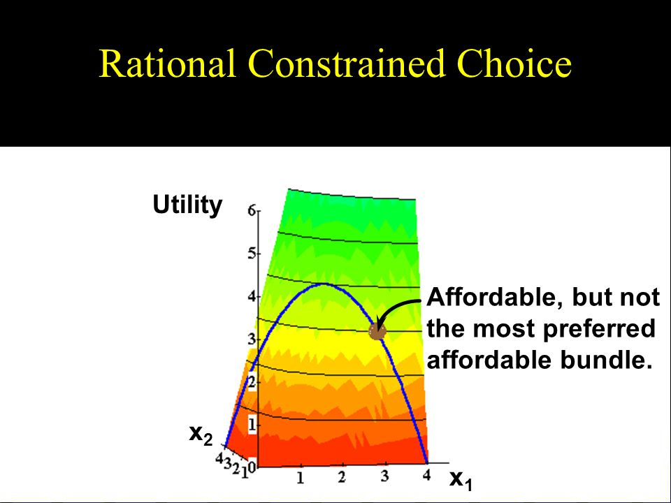 Rational Constrained Choice Utility x1x1 x2x2 Affordable, but not the most preferred affordable bundle.