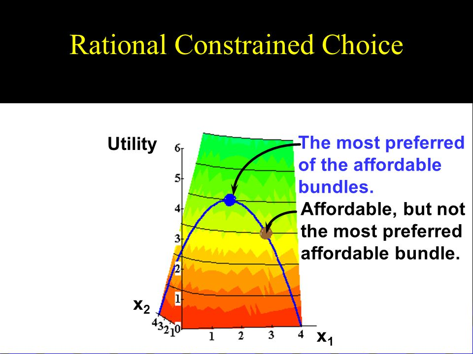 Rational Constrained Choice x1x1 x2x2 Utility Affordable, but not the most preferred affordable bundle.