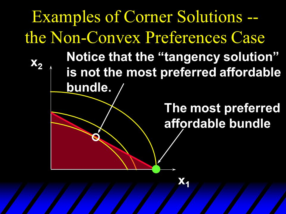"Examples of Corner Solutions -- the Non-Convex Preferences Case x1x1 x2x2 The most preferred affordable bundle Notice that the ""tangency solution"" is"