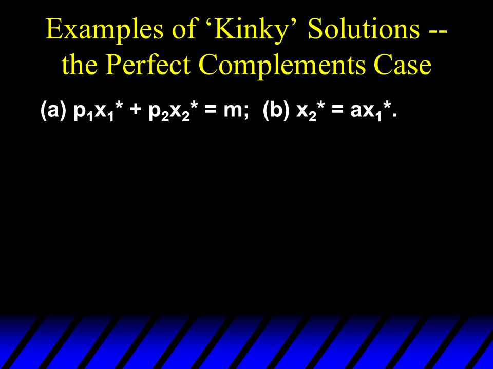 Examples of 'Kinky' Solutions -- the Perfect Complements Case (a) p 1 x 1 * + p 2 x 2 * = m; (b) x 2 * = ax 1 *.