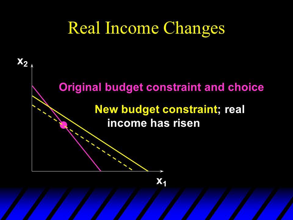 Real Income Changes x1x1 x2x2 Original budget constraint and choice New budget constraint; real income has risen