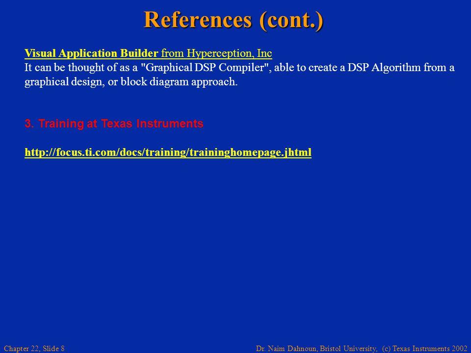 Dr. Naim Dahnoun, Bristol University, (c) Texas Instruments 2002 Chapter 22, Slide 8 References (cont.) Visual Application Builder from Hyperception,