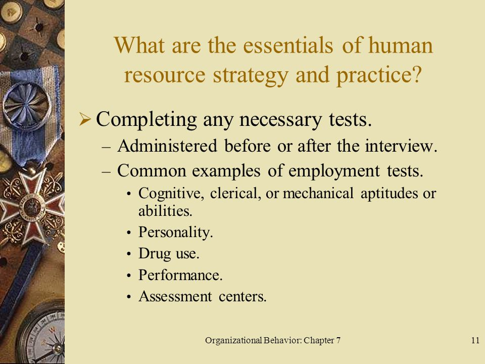 Organizational Behavior: Chapter 711 What are the essentials of human resource strategy and practice.