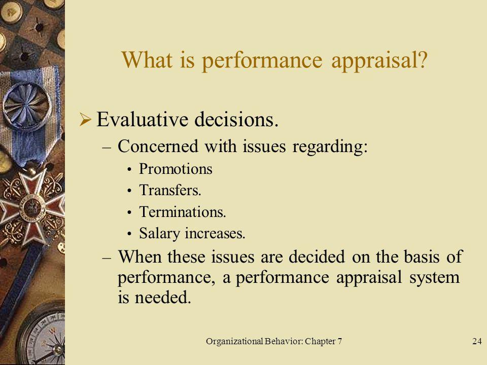 Organizational Behavior: Chapter 724 What is performance appraisal.