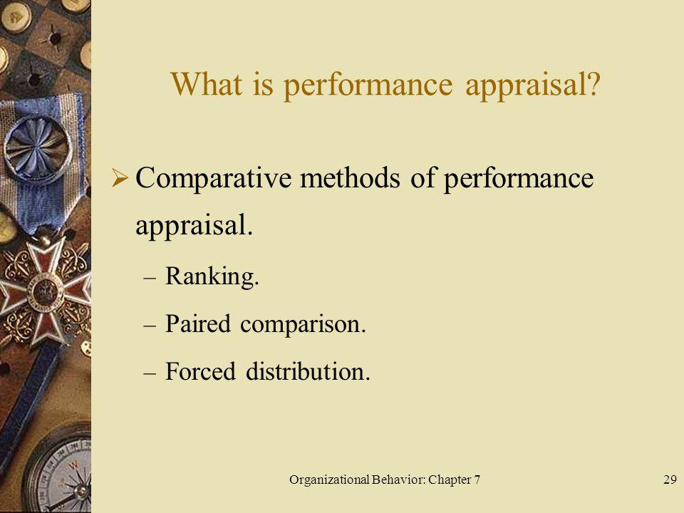 Organizational Behavior: Chapter 729 What is performance appraisal.