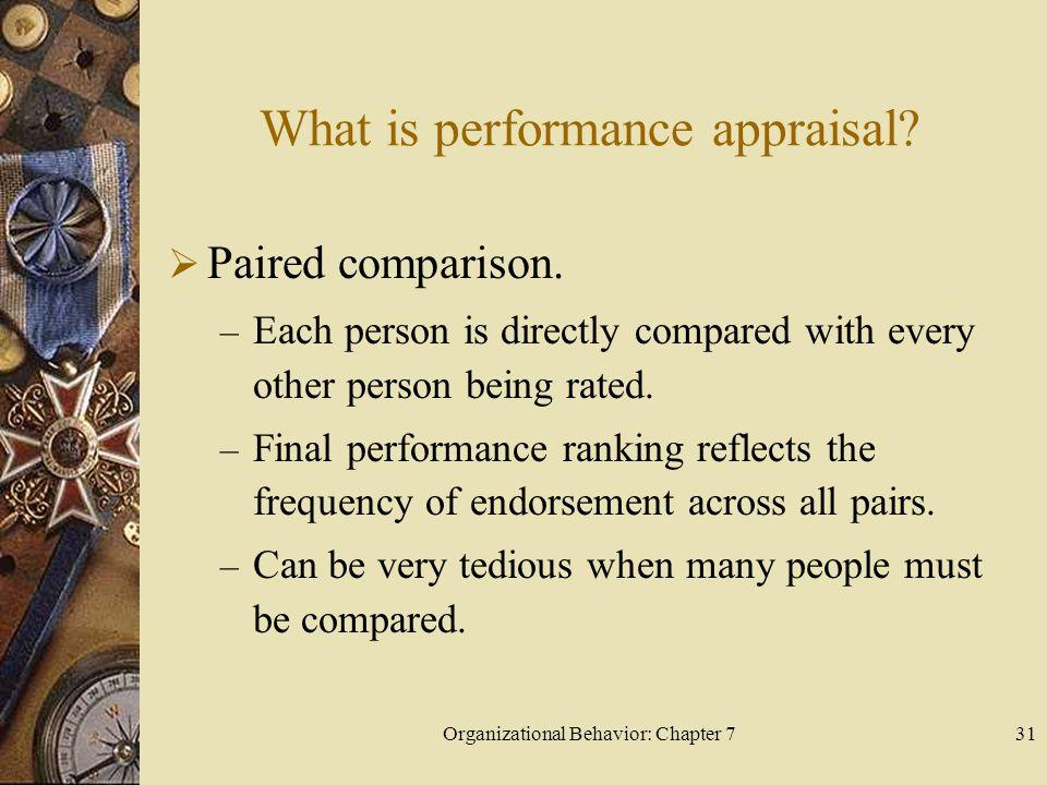 Organizational Behavior: Chapter 731 What is performance appraisal.