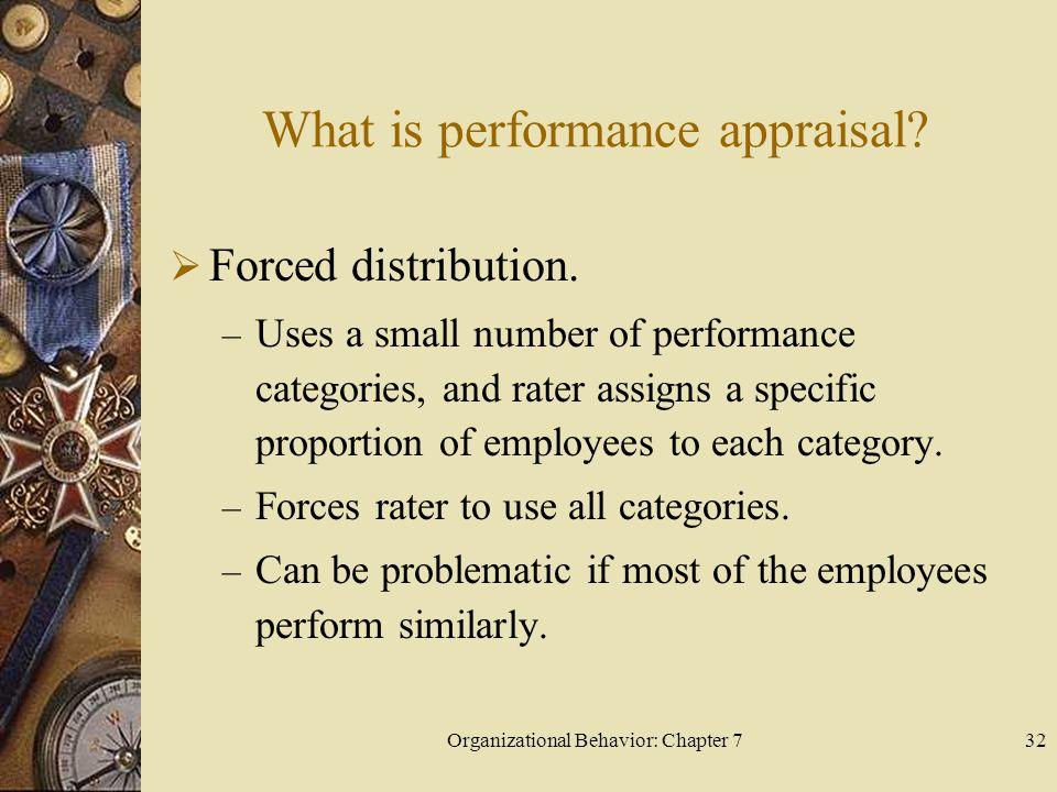 Organizational Behavior: Chapter 732 What is performance appraisal.