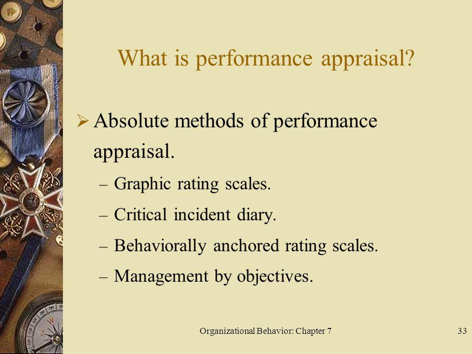 Organizational Behavior: Chapter 733 What is performance appraisal.