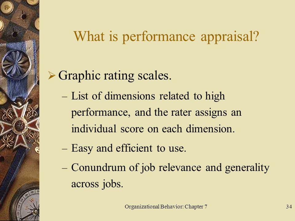 Organizational Behavior: Chapter 734 What is performance appraisal.