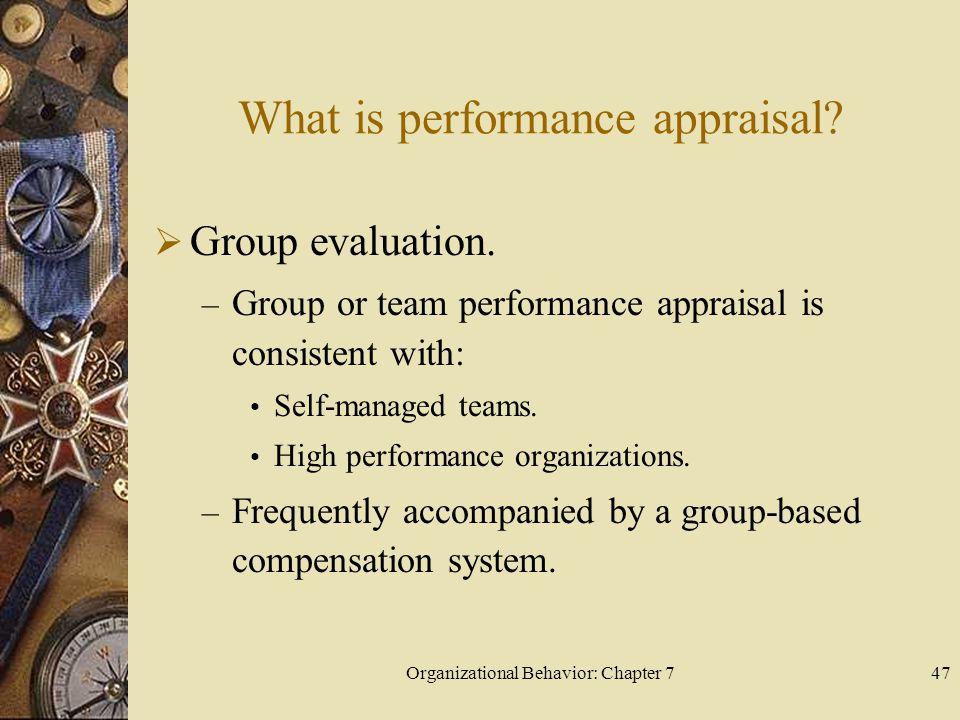 Organizational Behavior: Chapter 747 What is performance appraisal.