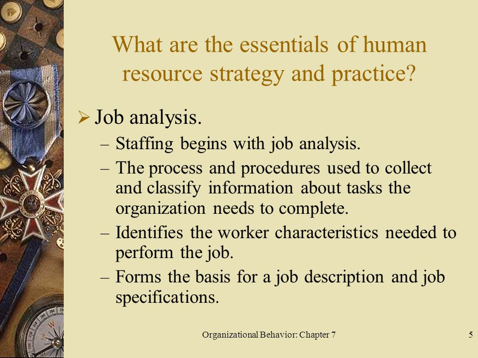 Organizational Behavior: Chapter 75 What are the essentials of human resource strategy and practice.