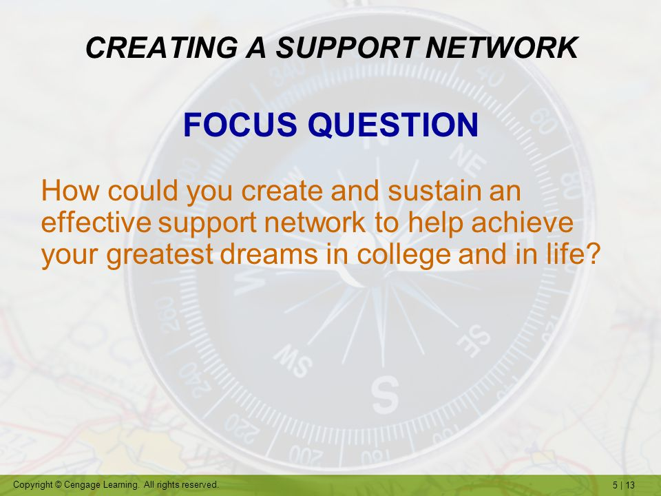 5 | 13 Copyright © Cengage Learning. All rights reserved. CREATING A SUPPORT NETWORK FOCUS QUESTION How could you create and sustain an effective supp