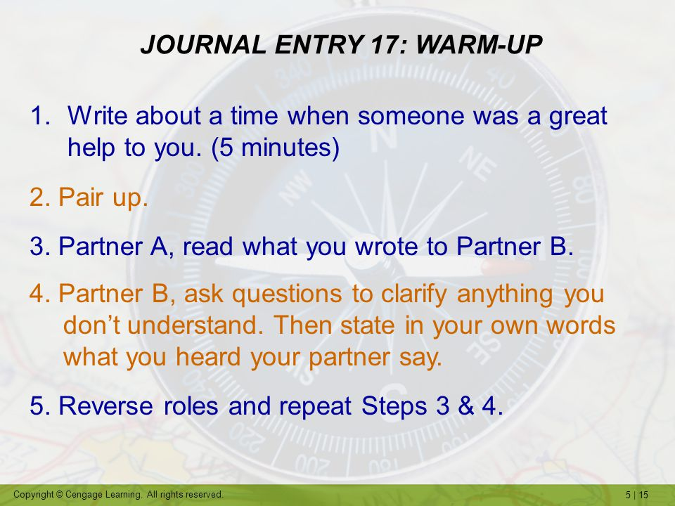 5 | 15 Copyright © Cengage Learning. All rights reserved. 1.Write about a time when someone was a great help to you. (5 minutes) 2. Pair up. 3. Partne