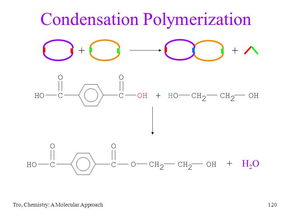 Tro, Chemistry: A Molecular Approach120 Condensation Polymerization ++ + CC OO HOOH HOCH 2 CH 2 OH HCC OO O OCH 2 CH 2 OH + H 2 O