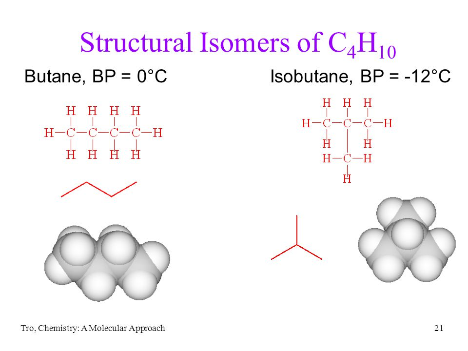 Tro, Chemistry: A Molecular Approach21 Structural Isomers of C 4 H 10 Butane, BP = 0°CIsobutane, BP = -12°C