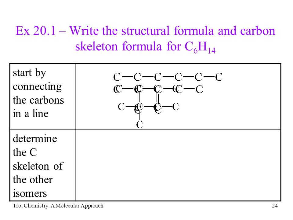 Tro, Chemistry: A Molecular Approach24 Ex 20.1 – Write the structural formula and carbon skeleton formula for C 6 H 14 start by connecting the carbons in a line determine the C skeleton of the other isomers
