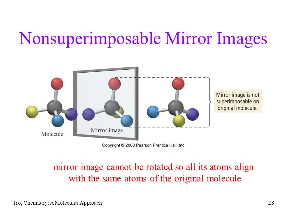 Tro, Chemistry: A Molecular Approach28 Nonsuperimposable Mirror Images mirror image cannot be rotated so all its atoms align with the same atoms of th