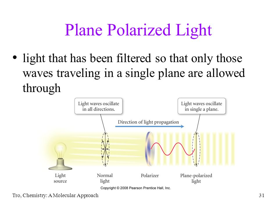 Tro, Chemistry: A Molecular Approach31 Plane Polarized Light light that has been filtered so that only those waves traveling in a single plane are allowed through