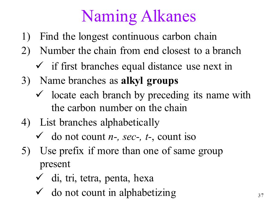 37 Naming Alkanes 1)Find the longest continuous carbon chain 2)Number the chain from end closest to a branch if first branches equal distance use next in 3)Name branches as alkyl groups locate each branch by preceding its name with the carbon number on the chain 4)List branches alphabetically do not count n-, sec-, t-, count iso 5)Use prefix if more than one of same group present di, tri, tetra, penta, hexa do not count in alphabetizing