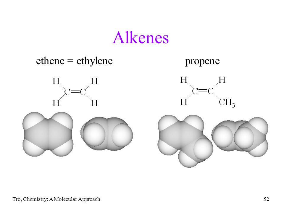 Tro, Chemistry: A Molecular Approach52 Alkenes ethene = ethylenepropene