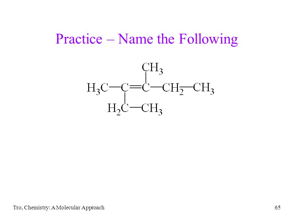 Tro, Chemistry: A Molecular Approach65 Practice – Name the Following