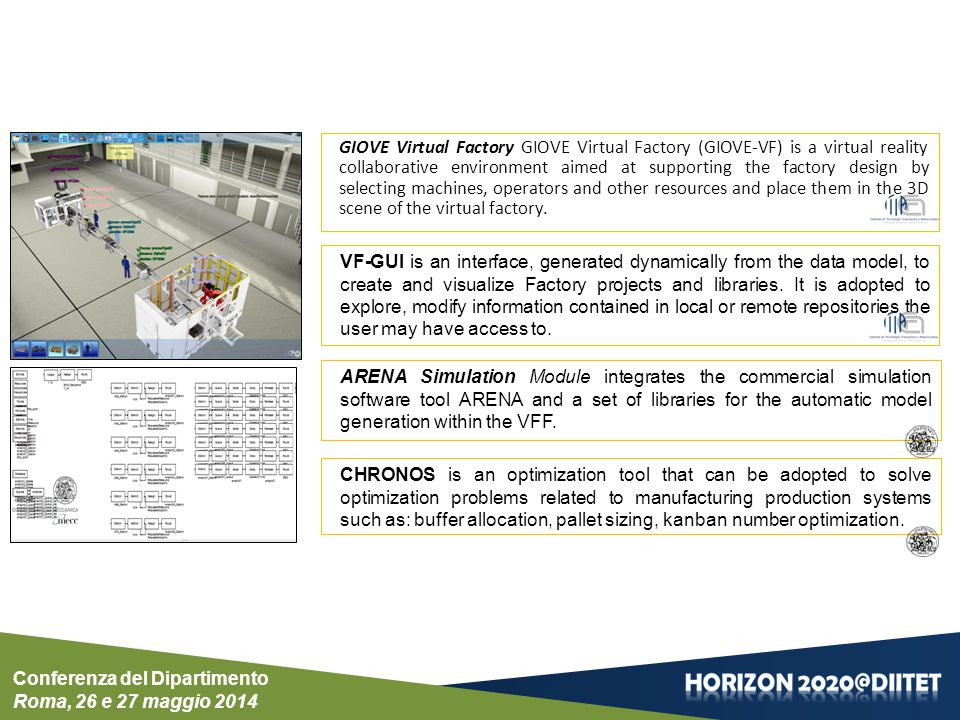 Conferenza del Dipartimento Roma, 26 e 27 maggio 2014 CHRONOS is an optimization tool that can be adopted to solve optimization problems related to manufacturing production systems such as: buffer allocation, pallet sizing, kanban number optimization.