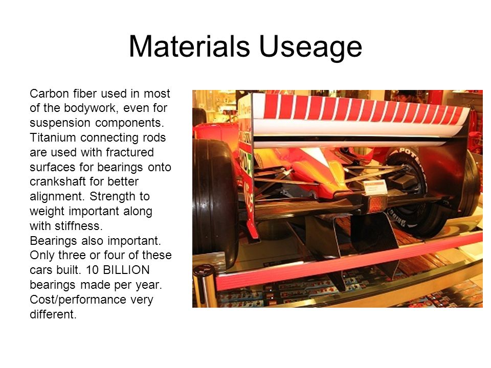 Materials Useage Carbon fiber used in most of the bodywork, even for suspension components.