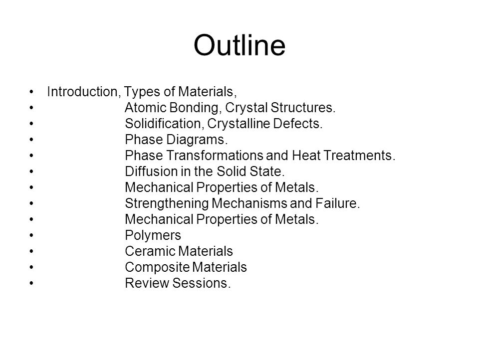 Outline Introduction, Types of Materials, Atomic Bonding, Crystal Structures.