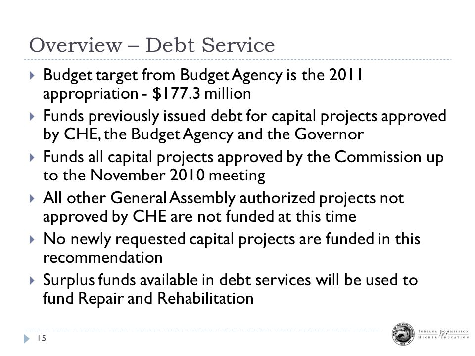 Overview – Debt Service 15  Budget target from Budget Agency is the 2011 appropriation - $177.3 million  Funds previously issued debt for capital projects approved by CHE, the Budget Agency and the Governor  Funds all capital projects approved by the Commission up to the November 2010 meeting  All other General Assembly authorized projects not approved by CHE are not funded at this time  No newly requested capital projects are funded in this recommendation  Surplus funds available in debt services will be used to fund Repair and Rehabilitation
