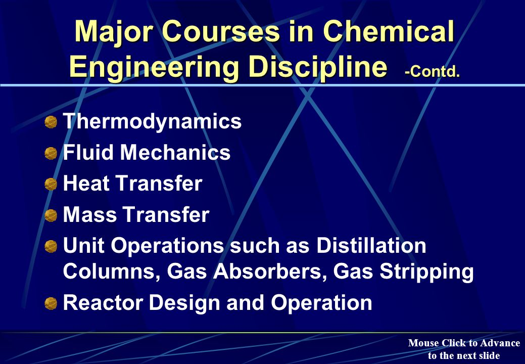 Major Courses in Chemical Engineering Discipline -Contd.