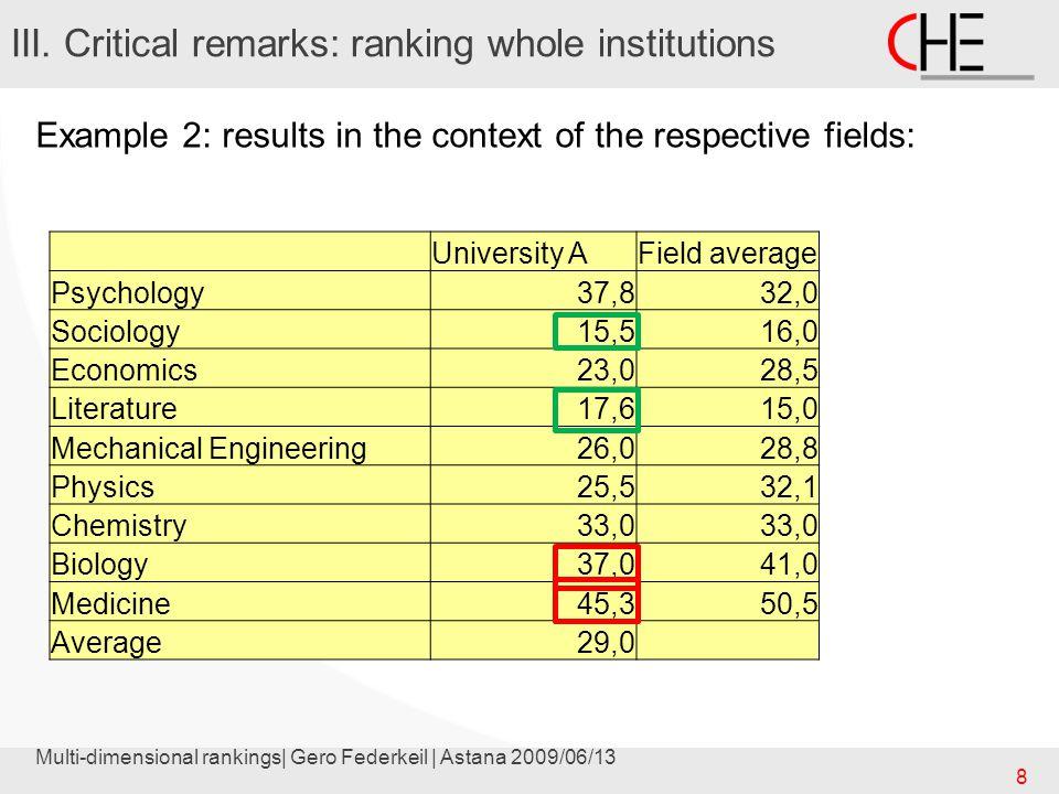 Multi-dimensional rankings| Gero Federkeil | Astana 2009/06/13 9 III.