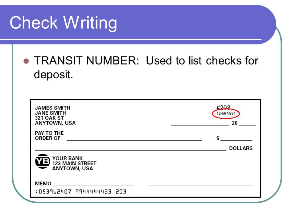 Check Writing TRANSIT NUMBER: Used to list checks for deposit.