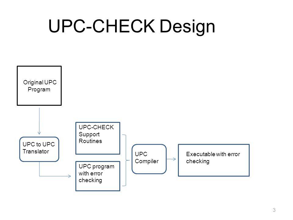 3 UPC-CHECK Design Original UPC Program UPC to UPC Translator UPC program with error checking UPC-CHECK Support Routines UPC Compiler Executable with error checking