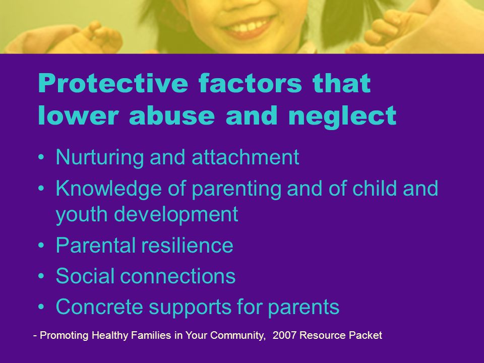 Protective factors that lower abuse and neglect Nurturing and attachment Knowledge of parenting and of child and youth development Parental resilience Social connections Concrete supports for parents - Promoting Healthy Families in Your Community, 2007 Resource Packet