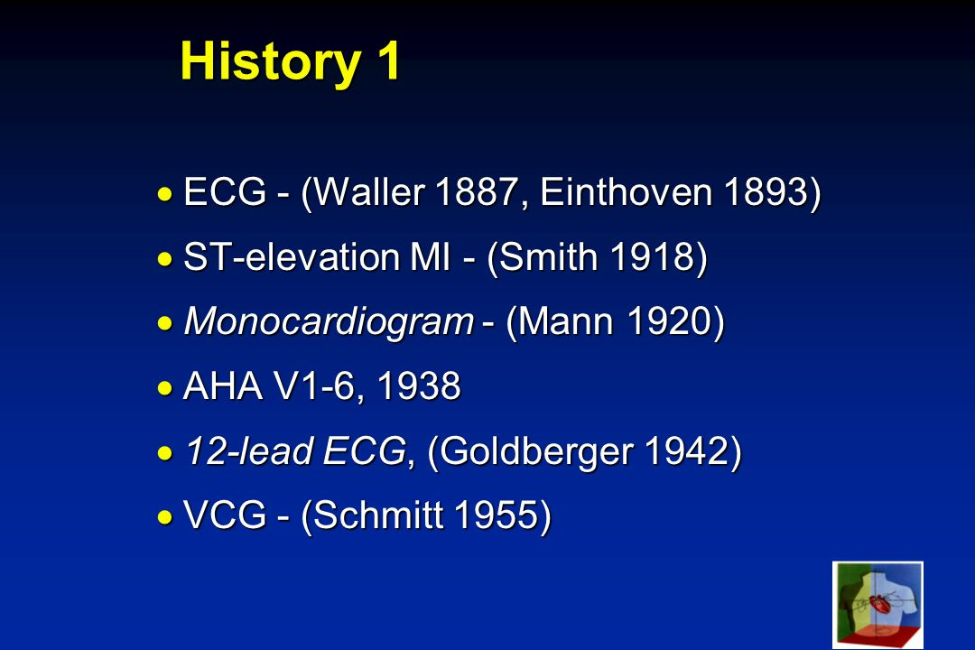 SVE-99 History 1  ECG - (Waller 1887, Einthoven 1893)  ST-elevation MI - (Smith 1918)  Monocardiogram - (Mann 1920)  AHA V1-6, 1938  12-lead ECG, (Goldberger 1942)  VCG - (Schmitt 1955)