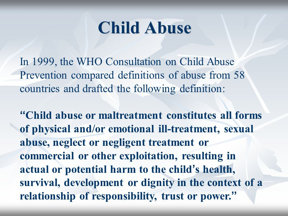 CHILD SEXUAL ABUSE Definition Child sexual abuse is the exploitation of a child or adolescent for the sexual gratification of another person.