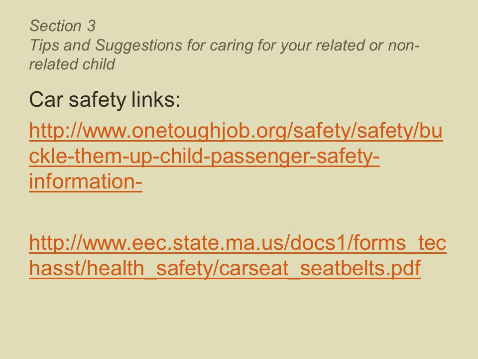 Section 3 Tips and Suggestions for caring for your related or non- related child Car safety links: http://www.onetoughjob.org/safety/safety/bu ckle-th