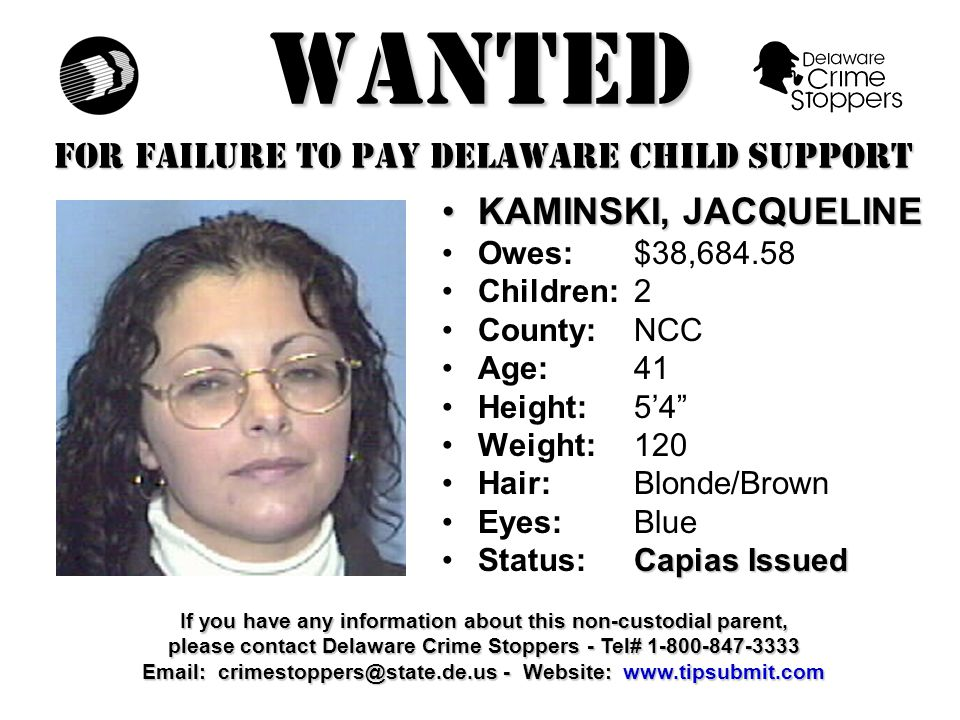WANTED FOR FAILURE TO PAY DELAWARE CHILD SUPPORT POTTER, BERESFORD K.POTTER, BERESFORD K.