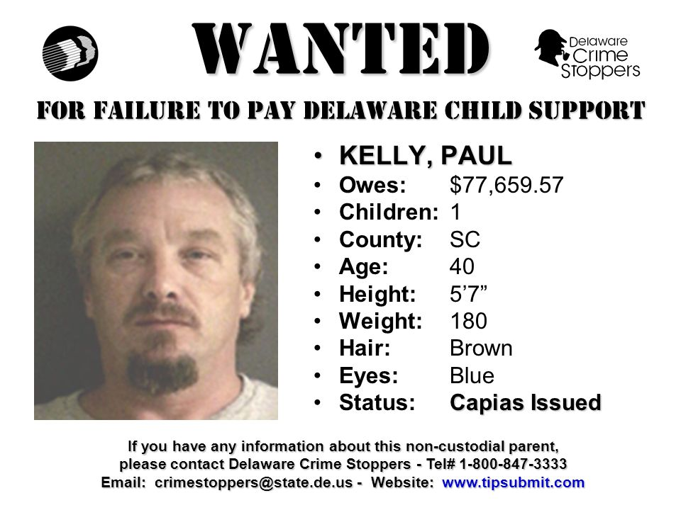 WANTED FOR FAILURE TO PAY DELAWARE CHILD SUPPORT JAMES, ANGELO, D.JAMES, ANGELO, D.