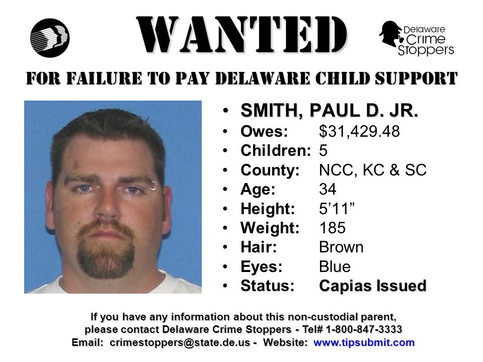 WANTED FOR FAILURE TO PAY DELAWARE CHILD SUPPORT TINGLE, CHARLESTINGLE, CHARLES Owes:$31,593.19 Children:1 County:SC Age: 45 Height: 5'9 Weight:150 Hair: Brown Eyes:Brown Capias IssuedStatus:Capias Issued If you have any information about this non-custodial parent, please contact Delaware Crime Stoppers - Tel# 1-800-847-3333 Email: crimestoppers@state.de.us - Website: www.tipsubmit.com
