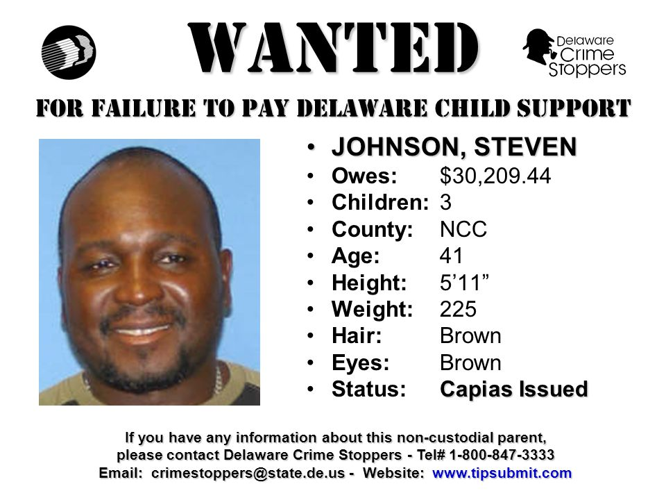 WANTED FOR FAILURE TO PAY DELAWARE CHILD SUPPORT CHAMBLEE, CORDELLCHAMBLEE, CORDELL Owes:$31,393.00 Children:2 County:NCC Age: 37 Height: 6'2 Weight:197 Hair: Black Eyes:Brown Capias IssuedStatus:Capias Issued If you have any information about this non-custodial parent, please contact Delaware Crime Stoppers - Tel# 1-800-847-3333 Email: crimestoppers@state.de.us - Website: www.tipsubmit.com
