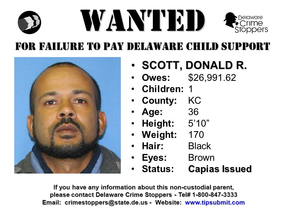 WANTED FOR FAILURE TO PAY DELAWARE CHILD SUPPORT UTTRICH, GARYUTTRICH, GARY Owes:$28,659.86 Children:1 County:NCC Age: 40 Height: 5'11 Weight:180 Hair: Brown Eyes:Blue Capias IssuedStatus: Capias Issued If you have any information about this non-custodial parent, please contact Delaware Crime Stoppers - Tel# 1-800-847-3333 Email: crimestoppers@state.de.us - Website: www.tipsubmit.com