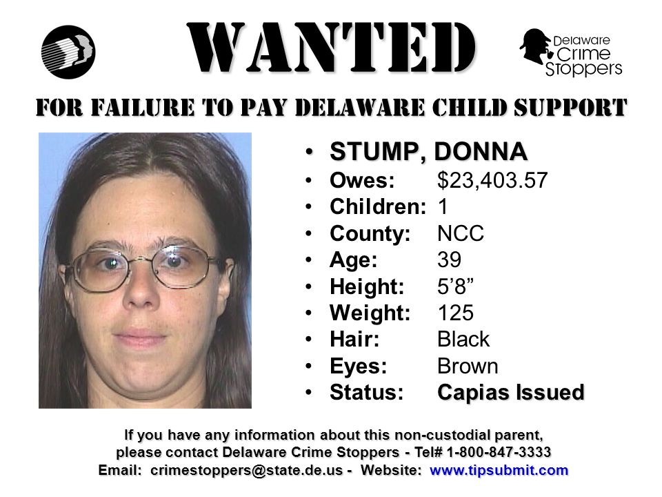 WANTED FOR FAILURE TO PAY DELAWARE CHILD SUPPORT DIXON, RON M.DIXON, RON M.