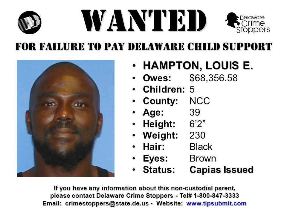 WANTED FOR FAILURE TO PAY DELAWARE CHILD SUPPORT WILLIAMS, CLYDE H.WILLIAMS, CLYDE H.