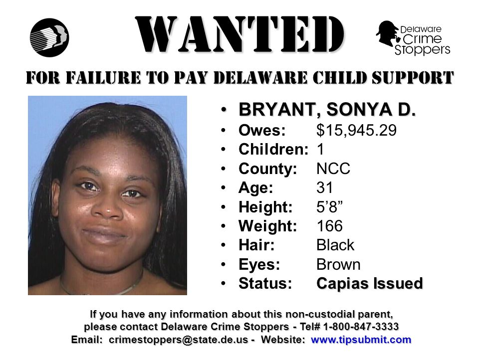 WANTED FOR FAILURE TO PAY DELAWARE CHILD SUPPORT FOURNIER, MICHAEL J.FOURNIER, MICHAEL J.