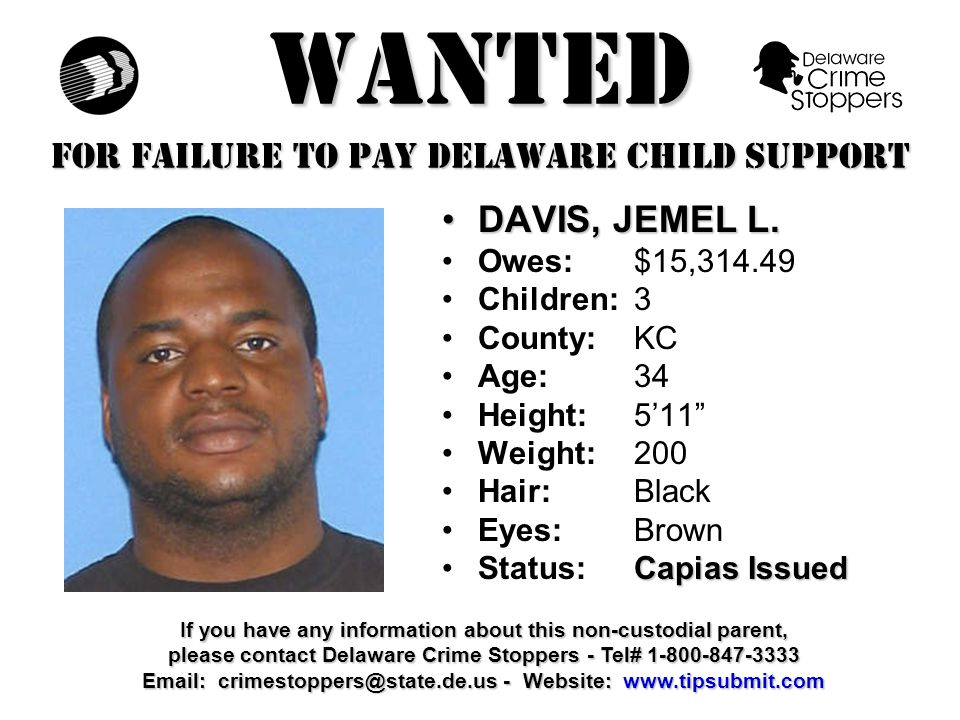 WANTED FOR FAILURE TO PAY DELAWARE CHILD SUPPORT VICKERS, NEIL S.VICKERS, NEIL S.