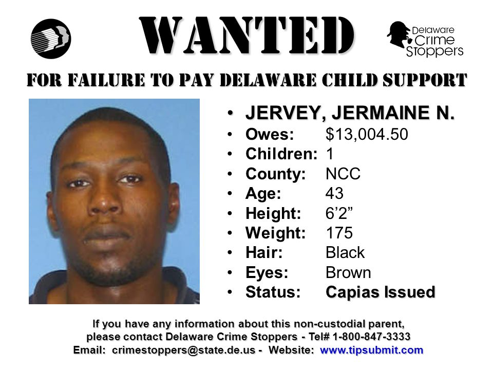 WANTED FOR FAILURE TO PAY DELAWARE CHILD SUPPORT EMORY, JOHN W.EMORY, JOHN W.