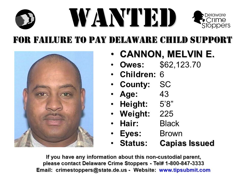 WANTED FOR FAILURE TO PAY DELAWARE CHILD SUPPORT GALE, STEVEN L.GALE, STEVEN L.
