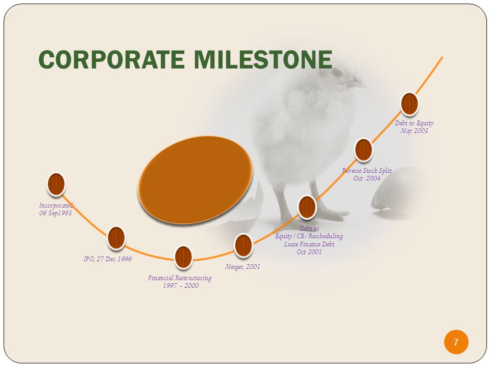 Incorporated 06 Sep1985 IPO, 27 Dec 1996 Merger, 2001 Debt to Equity/CB/Rescheduling Lease Finance Debt Oct 2001 Financial Restructuring 1997 - 2000 Reverse Stock Split Oct 2004 Debt to Equity May 2005 CORPORATE MILESTONE 7